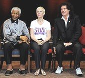 Nelson Mandela, Annie Lennox & Brian May at a concert in Hyde Park, London in 2008