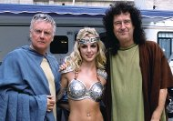 Roger Taylor, Britney Spears & Brian May during the making of a commercial for Pepsi