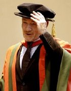 Sir Ian McKellen receives his honorary degree from Leeds University in 2004