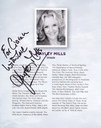 Programme for 'Ladies in Lavender' signed by Hayley Mills
