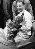 Stirling Moss after a Grand Prix win in 1958