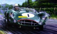 Stirling Moss racing his Aston Martin DBR1 at the Nurburgring in 1958