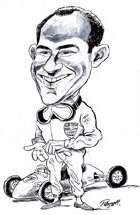 Caricature of Stirling Moss from his book '80 Cars for 80 Years'