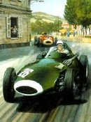 Stirling Moss racing a Vanwall in the Italian Grand Prix in 1957