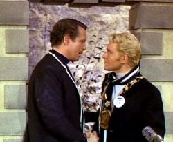 Patrick McGoohan and Derren Nesbitt in 'The Prisoner'
