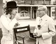 Paul Nicholas with George Burns on the set of 'Sgt. Pepper's Lonely hearts Club Band'