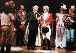 Michael Aspel interrupts a rehearsal of 'Barnum' to tell Paul Nicholas that he is the subject of 'This is Your Life'