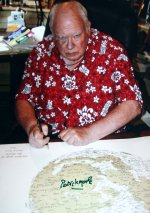 Signed photo of Sir Patrick Moore with his Moon Map