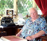 Patrick Moore in his study at Farthings