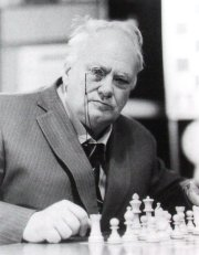 Patrick Moore taking part in the Hastings Chess Congress