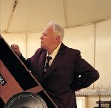 Sir Patrick Moore in his observatory at Farthings