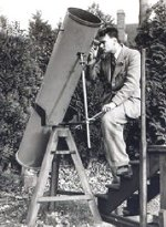 Patrick Moore with his first, home-made telescope