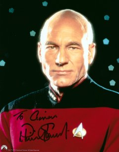Patrick Stewart signed photo. It shows him as Jean-Luc Picard in 'Star Trek'