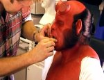 Ron Perlman being made up for his role as Hellboy