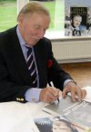 Leslie Phillips signing 'Carry On' book at Pinewood