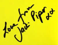 Jacki Piper's signature in 'The Carry On Companion'