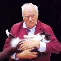 Sir Patrick Moore with his cat Jeannie, photographed by Dr Brian May