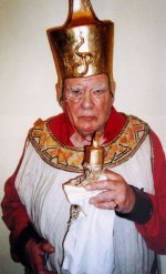 Patrick Moore enjoyed playing 'The Demon' in the Selsey Christmas pantomimes