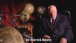 Sir Patrick Moore presenting 'The Sky at Night' from his home, in December 2008