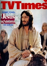 TV Times front cover featuring Robert Powell as Christ in 'Jesus of Nazareth' (1976)