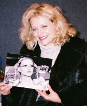 Blanche Ravalec with signed photo of her character Dolly