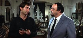 Timothy Dalton and John Rhys-Davies in 'The Living Daylights'