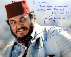 John Rhys-Davies signed photograph of him as Sallah in 'Raiders of the Lost Ark'