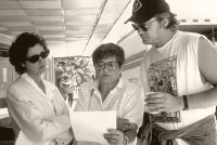 Susan Sarandon, Helen Prejean & Tim Robbins working on the film 'Dead Man Walking' (1995)