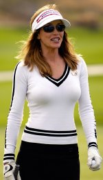 Tanya Roberts finishing her round at the 18th Annual Frank Sinatra Celebrity Invitational Golf Tournament at Indian Wells Country Club in 2006