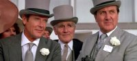 Roger Moore, Desmond Llewellyn and Patrick Macnee in 'A View to a Kill'