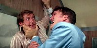 Roger Moore as James Bond and Richard Kiel as Jaws in 'The Spy Who Loved Me'