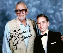 Signed photograph of George Romero with Ciaran Brown