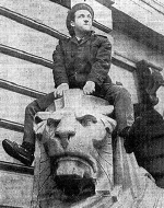 Norman Rossington on 'Oscar' the right hand lion outside Nottingham's Council House