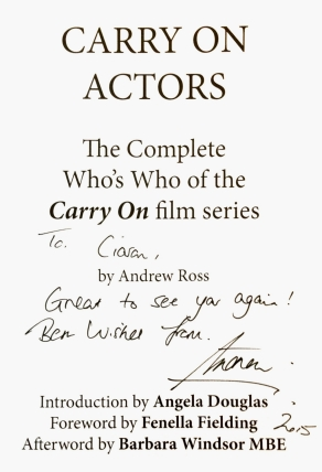 Title page of 'Carry On Actors' signed by Andrew Ross