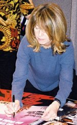 Gaylen Ross signing 'Dawn of the Dead' poster