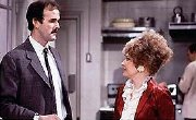 Prunella Scales as Sybil, with John Cleese as Basil in 'Fawlty Towers'