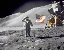 David Scott salutes the US flag  on July 30 1971, during the Apollo 15 mission
