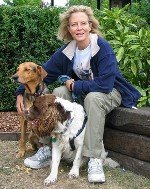 Jenny Seagrove with her two dogs who accompany her everywhere