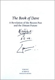 Signed copy of Will Self's book 'The Book of Dave'