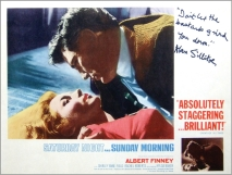 Original lobby card for 'Saturday Night and Sunday Morning', signed by Alan Sillitoe