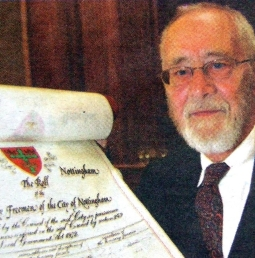 Alan Sillitoe is made an Honorary Freeman of the City of Nottingham in June 2008.