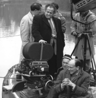 Karel Reisz directs the filming of the fishing scenes at Greenford in Saturday Night and Sunday Morning