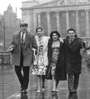 Albert Finney, Shirley Anne Field, Louise Dunn and Norman Rossington in the Old Market Square, Nottingham, 3rd April 1960