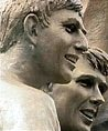 Detail of Philip Jackson's statue showing Martin Peters and Geoff Hurst