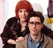 Alison Steadman as Pauline Mole and Stephen Mangan as Adrian in 'Adrian Mole: The Cappucino Years'