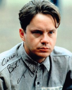 Tim Robbins signed photograph showing him as Andy Dufresne in 'The Shawshank Redemption'