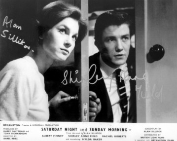 Publicity photo signed by Alan Sillitoe and Shirley Anne Field
