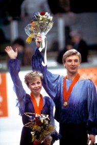 Torvill and Dean with their gold medals after their performance of 'Bolero' at the 1984 Winter Olympics in Sarajevo