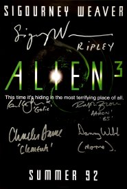 Alien 3 masterprint signed by Sigourney Weaver, Paul McGann, Ralph Brown, Charles Dance & Danny Webb