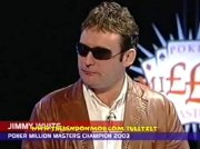 Jimmy White on TV after becoming the Poker Million Masters Champion in 2003